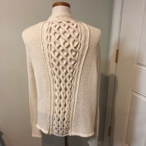 Braided open back cardigan sweater knitted cutout